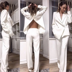 Adyce New Winter Woman Sets White Long Sleeve Coat&Pant 2 Two Pieces Set Night Out V Neck Celebrity Evening Party Women Set