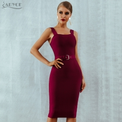 ADYCE 2019 New Summer Bandage Dress Women Sexy Wine Red Apricot Black Spaghetti Strap Belt Midi Bodycon Party Club Dress Vestido