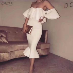 Adyce New Summer Bodycon White Dress Vestidos Verano Elegant Women Clubwear Butterfly Sleeve Ruffles Celebrity Party Dress