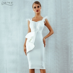 ADYCE 2019 New Summer Women Dress Black White Slash Neck Short Sleeve Feather Pearl Runway Celebrity Evening Party Dress Vestido