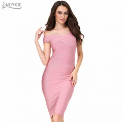 ADYCE Summer Women Bandage Dress Pink V Neck Knee-length Celebrity Luxury Runway Dress Evening Party Dress Vestidos