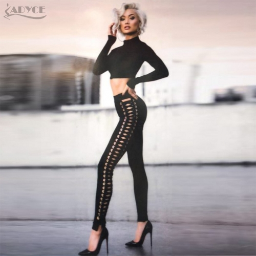 ADYCE Spring Women Runway Bandage Pants Black Handmade Cross Stretch Mid Waist Slim Casual Lace Up Trousers Female Apparel