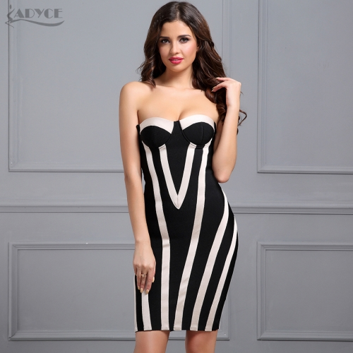 ADYCE Women Runway Bodycon Black Sexy Strapless Sleeveless Striped Mini Vestidos Celebrity Summer Party Dresses