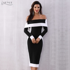 Adyce Sexy Summer Bodycon Bandage Dress Women Vestidos Verano 2019 New Long Sleeve Off Shoulder Club Dress Celebrity Party Dress