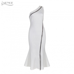 Adyce New Women One Shoulder Celebrity Bodycon Dress White Ruffles Hem Zipper Vestidos Sexy Prom Party Dresses Clubwear