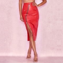 ADYCE 2019 New Arrivals Summer Bodycon Celebrity Evening Party Women Skirts Sexy Red Midi Leather Club Skirts Vestidos