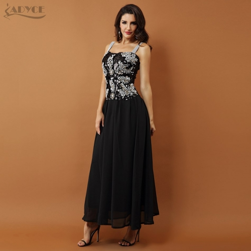 Adyce New Runway Women Dress A Line Sexy Black Sleeveless Beading Diamond Lace Mesh Celebrity Evening Party Dress Vestidos