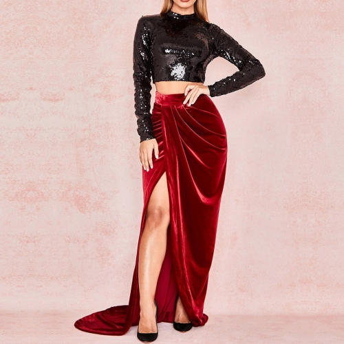 Adyce 2019 New Summer Celebrity Party Two Pieces Sets  Women Bodycon Long Sleeve Sequin Club Dress Women Short Top Sets Vestidos
