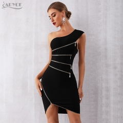 ADYCE 2019 New Zipper Women Bandage Dress Sexy One Shoulder Zipper Black Clubwear Dress Vestidos Celebrity Evening Party Dress