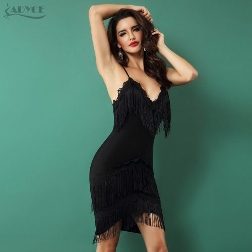 Adyce New Women Bandage Fringe Dress Elegant Club Party Dresses Sexy V Neck Spaghetti Strap Tassels Embellished Mini Dress