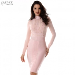 Adyce New Summer Dress Women Runway Party Dress Black Beige Long Sleeves Modern Chic Bodycon Celebrity Pencil Midi Bandage Dress