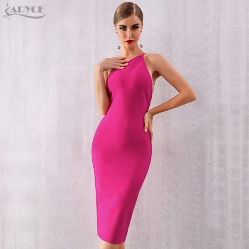 ADYCE 2019 New Summer One Shoulder Bandage Dress Women Vestidos Sexy Rose Red Spaghetti Strap Club Dresses Celebrity Party Dress