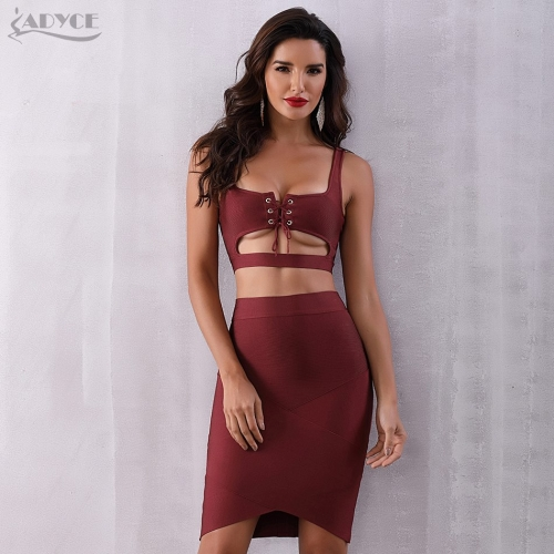 ADYCE New Summer Bodycon Bandage Set Dress 2 Two pieces Set Top&Skirts Lace Up Vestidos Celebrity Evening Party Dress Women
