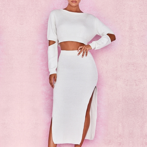 ADYCE New Summer Women Bodycon Bandage Sets Vestidos 2019 2 Two pieces Set Pullover O Neck Celebrity Evening Party Club Dresses