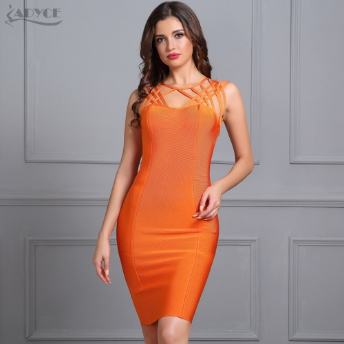 Adyce Elegant Bodycon Mini Dress Sexy Hollow Out Orange Celebrity Bandage Dresses Summer Backless Evening Party Vestidos