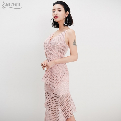 ADYCE New Women Dress Sexy Black Lace Mesh Hollow Out Strap Casual Dress Celebrity Evening Party Dresses Vestido de festa