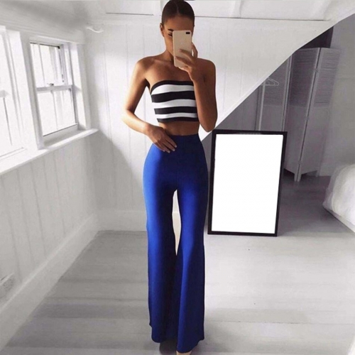 Adyce 2019 Women Summer Sets Tops&Pant 2 Two Pieces Full Length Strapless Striped Night Out Celebrity Evening Party Sets Vestido