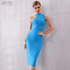 ADYCE Summer Women Bandage Dress Vestidos Verano 2019 Elegant Blue Tank Sexy Sleeveless Bodycon Club Dress Celebrity Party Dress