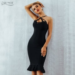 Adyce Women Summer Black Lace Bandage Dress Vestidos Verano 2019 Spaghetti Strap Mermaid V-Neck Celebrity Evening Party Dresses