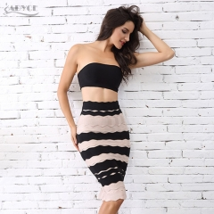 Adyce New Women Summer Bandage Skirt Black&Khaki Striped Back Zipper Knee Lenght Celebrity Bodycon Party Skirts Wholesale