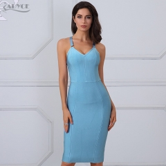 Adyce New Women Summer Bandage Dresses Sky Blue Cross Spaghetti Strap Vestidos V-Neck Knee Length Evening Party Dress