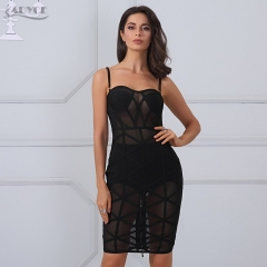 Adyce Fashion Autumn Dress Women Sexy Sheer Mesh Knee Length Vestidos Celebrity Party Dress Clubwear Black Bandage Dresses