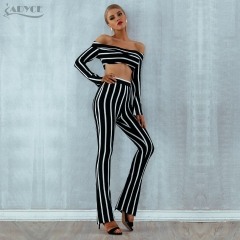 Adyce 2019 New Summer Women Bandage Set Striped Top & Jumpsuit 2 Two Pieces Set Night Out Celebrity Evening Party Club Women Set