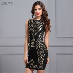 Adyce Sexy Summer Bandage Dress Women Black Sleeveless Gold Printing Mini Tank Vestidos New Celebrity Evening Party Dresses