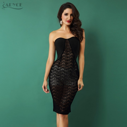 Adyce New Arrival Summer Women Dresses Black Strapless Hollow Out Lace Hem Bodycon Vestidos Celebrity Evening Party Dresses