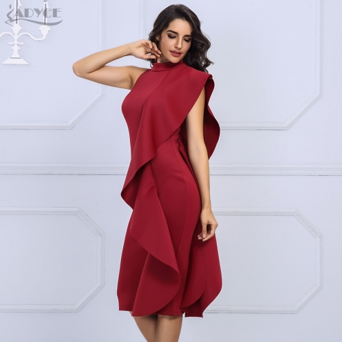 Adyce 2019 New Summer White Women Celebrity Party Dress Sexy Wine Red Sleeveless Patchwork Ruffles Bodycon Club Dresses Vestidos