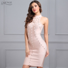 ADYCE Sexy Women Summer Runway Dress Black Apricot Sleeveless Beading  party dress Celebrity Prom Bodycon Knee Length Dress