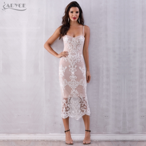 Adyce Sexy Women Summer Lace Bandage Dress Vestidos Verano 2019 Spaghetti Strap Bodycon Club Dress Elegant Celebrity Party Dress