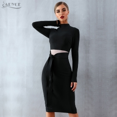 ADYCE Women Bandage Dress 2019 New Arrival Spring Black Long Sleeve Bow Bodycon Club Dress Celebrity Party Runway Dress Vestidos