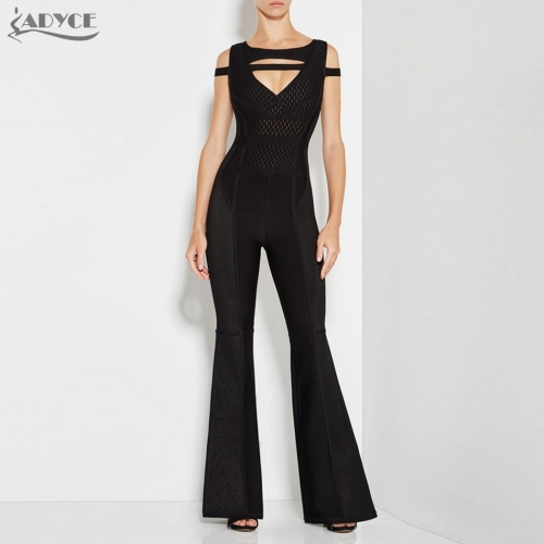 Adyce New Women Long Jumpsuits Bandage Rompers Bodysuit Black Cut Out Sleeveless Mesh club Celebrity Party Long Jumpsuit