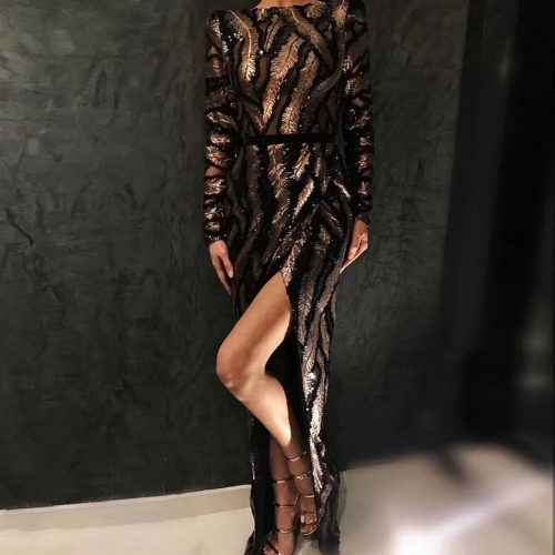Adyce 2019 New Spring Celebrity Party Dress Sequined Women Dress Vestido Sexy Deep V Neck Maxi Backless Long Sleeve Club Dresses
