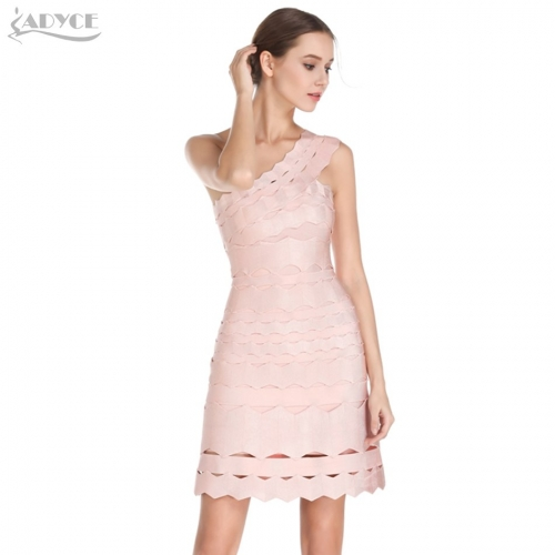 Adyce New Summer Bandage Dress Sexy Apricot One Shoulder A line Mini Dress Women Night Out Celebrity Party Dress Vestidos