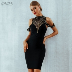 ADYCE 2019 New Summer Black Bandage Dress Women Vestidos Sexy Backless Beads Bodycon Club Dress Celebrity Evening Party Dresses