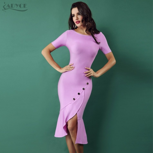 ADYCE Spring New Women Bandage Dress Violet Front Splitting Runway Short Sleeve Sequined Celebrity Bodycon Ruffles Vestidos