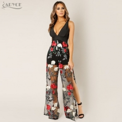 Adyce New Women Bandage Jumpsuit Embroidered Lace Black Sexy V Neck Mesh Club Celebrity Evening Party Long Jumpsuit Vestido