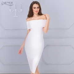 ADYCE 2019 New White Celebrity Runway Bandage Dress Women Black Red Sexy Off Shoulder Midi Bodycon Evening Party Dress Vestido