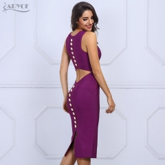 Adyce New Fashion Autumn Women Bandage Dress Sexy V Neck Sleeveless Back Button Studded Hollow Out Party Dresses Club Wears