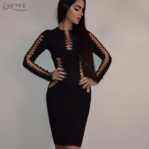 Adyce New Summer Bandage Dresses Mini Vestidos Sexy Women Black O Neck Hollow Out Long Sleeve Dress Evening Party Dress