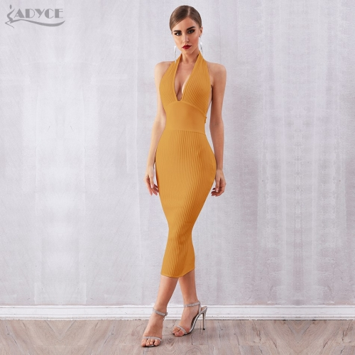 ADYCE  New Summer Women Bandage Dress Vestidos Verano 2019 Sexy Halter Backless Deep V Bodycon Club Dress Celebrity Party Dress