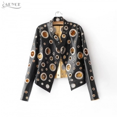 Adyce New Luxury Runway Coat Women Coats Black Golden Silver Long Sleeve Hollow Out Celebrity Lady Faux Fur Leather basic Coat