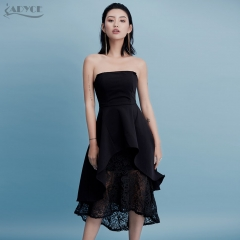 Adyce New Summer Dress Chic Lace Strapless Black Party Dress Sexy Women Celebrity Midi Casual Dress Vestido De Festa