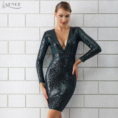 Adyce 2019 Bandage Dress Women Luxury Sexy Deep V Neck  Sequin Dress Long Sleeve Bodycon Clubwears Celebrity Evening Party Dress