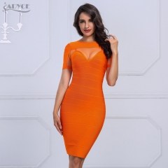 ADYCE Chic New Brand Autumn Woman Bandage Dress Sexy Short Sleeve Mesh Celebrity Evening Party Dress Vestidos Wholesale