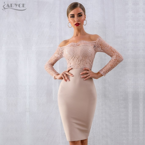 ADYCE Summer Women Lace Bandage Dress Vestidos Verano 2019 Sexy Long Sleeve Slash Neck Bodycon Club Dress Celebrity Party Dress