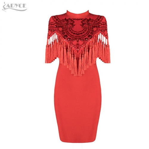 Adyce New Arrival Bandage Dress Sexy Tassel Sequins Embellished Fringe Dresses Club wear Celebrity Party Dress Vestidos
