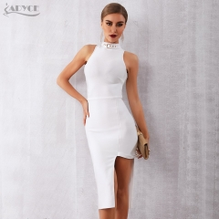 ADYCE 2019 New Summer White Bandage Dress Women Vestidos Sexy Black Bodycon Celebrity Runway Party Dress Midi Tank Club Dresses